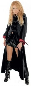 3108~ Gothic Long Velvet Coat with Satin Lining~ Black with Red Lining~ By Bares~ Carefully Sourced by Folio Gothic Hippy~